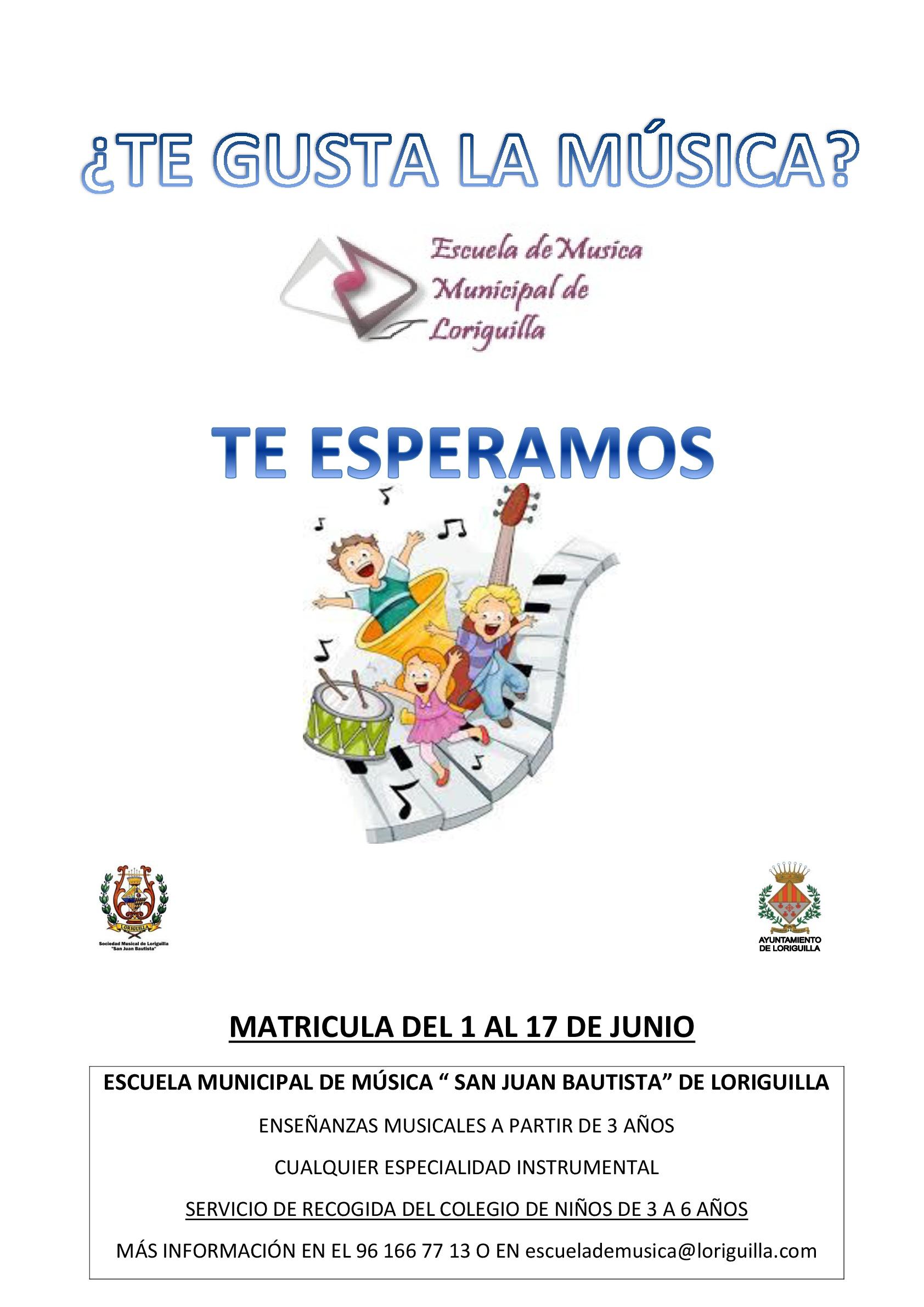 Abierta la matrícula de la Escuela de Música Municipal de Loriguilla curso 2016-2017