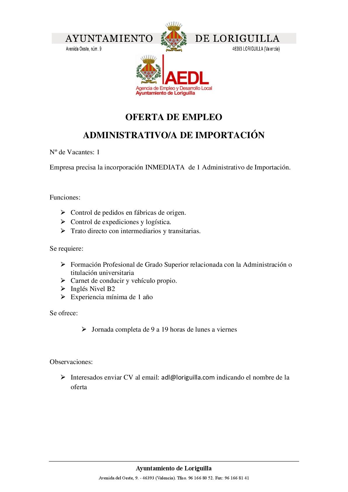 Oferta de empleo Administrativo Importación
