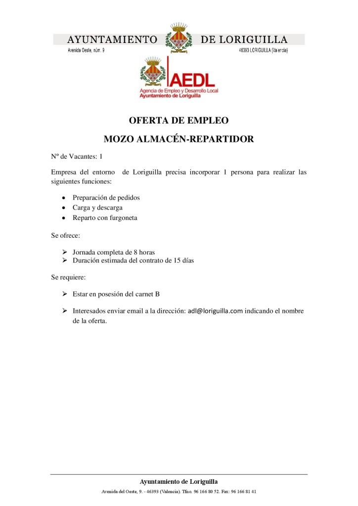 Oferta de empleo mozo almacén-repartidor-001
