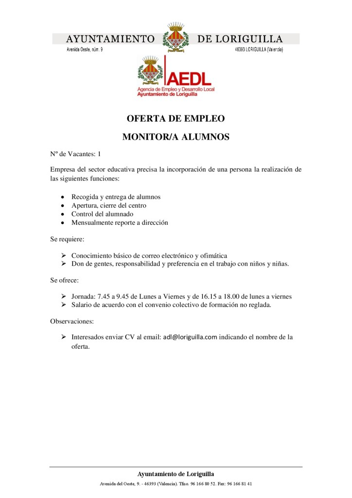 Oferta de empleo Monitor Alumnos-001