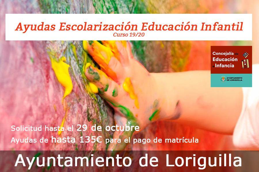 El Ayuntamiento de Loriguilla convoca ayuda para la matrícula en el Centro de Educación Infantil Mandarina, curso 2019-2020