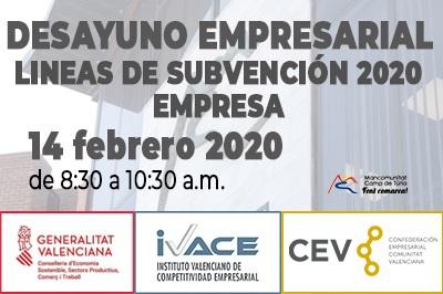 La Mancomunitat organiza la jornada «Desayuno empresarial: líneas de subvención 2020»
