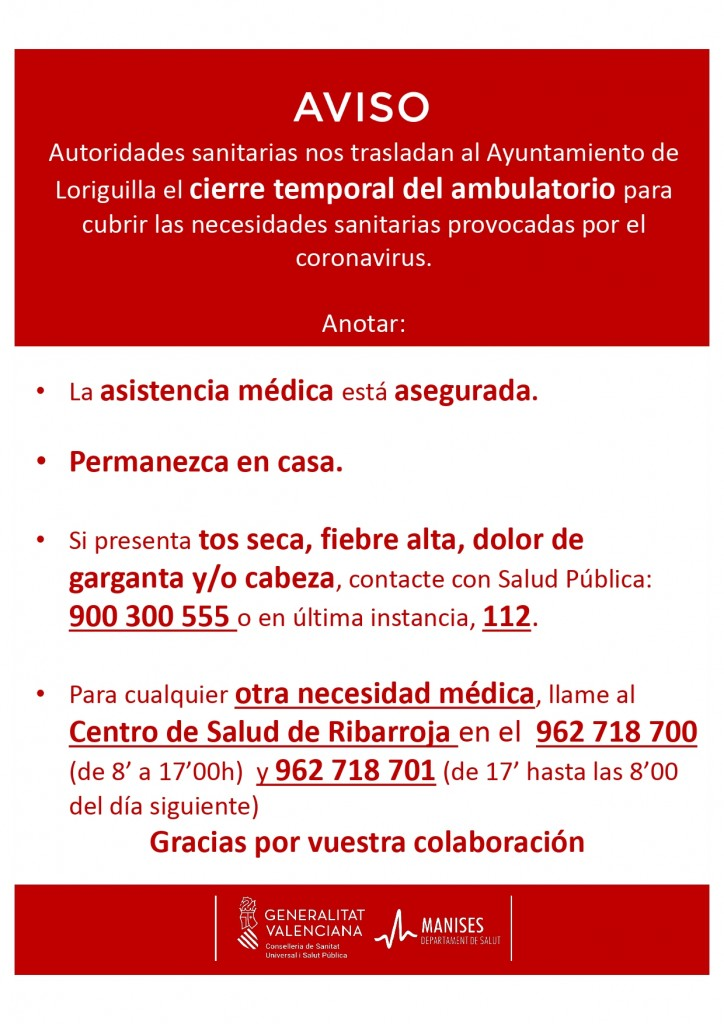 AVISO CIERRE TEMPORAL AMBULATORIO