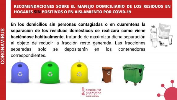 Recomendaciones sobre la gestión de residuos domésticos en caso de aislamiento