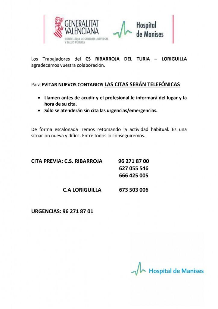 Teléfonos Centro Salud Ribarroja