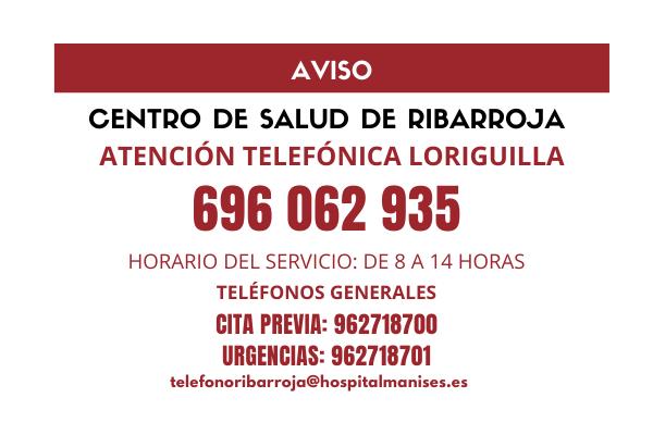 Loriguilla habilita un teléfono de atención sanitaria para usuarios del municipio