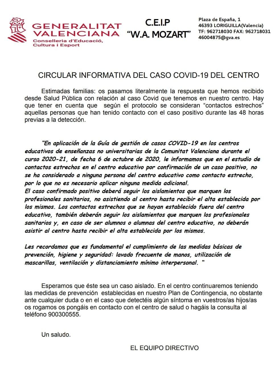 Salud Pública informa que no hay ningún contacto estrecho en el CEIP Mozart tras el positivo por COVID-19 detectado ayer