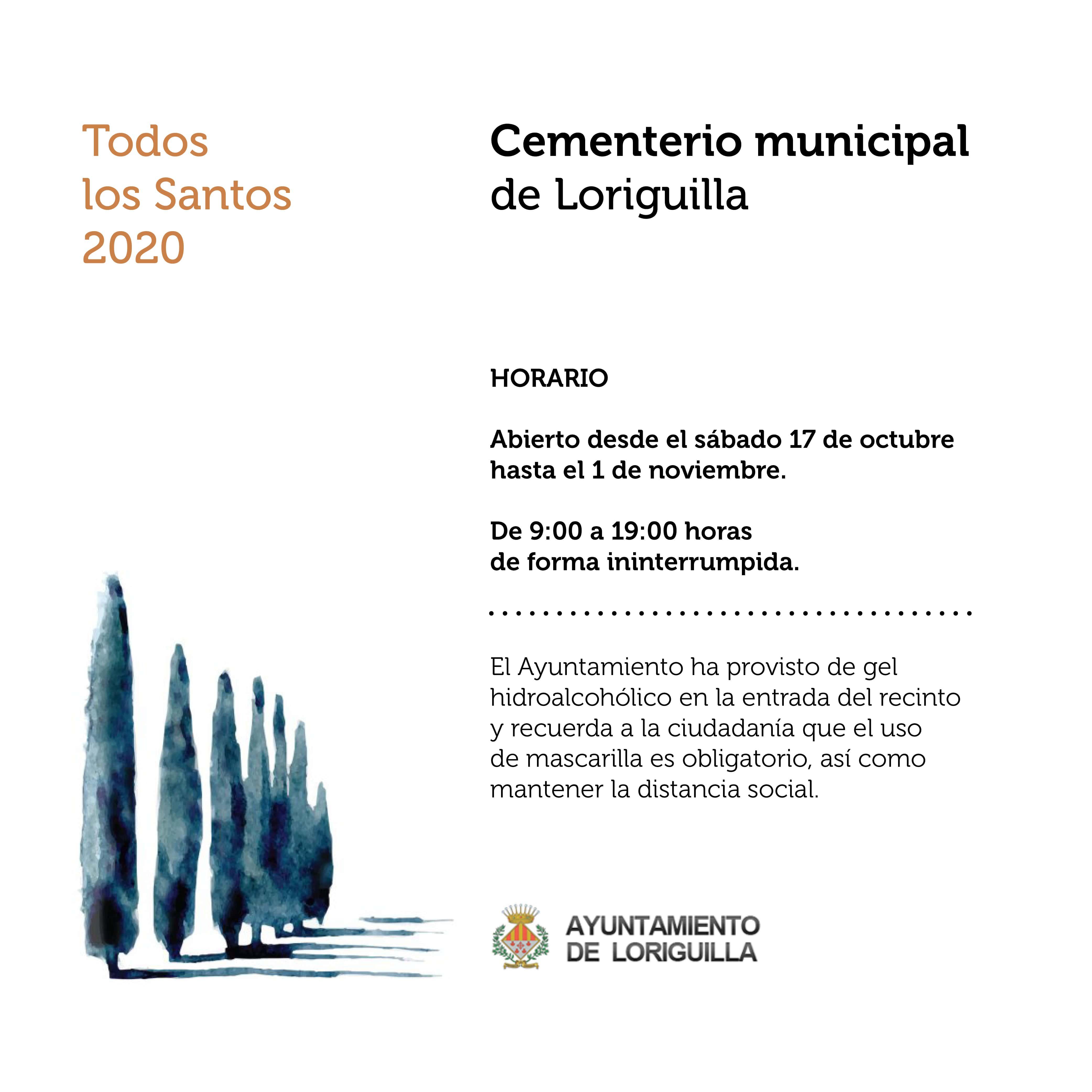 El cementerio municipal de Loriguilla permanecerá abierto desde el sábado 17 de octubre hasta el 1 de noviembre