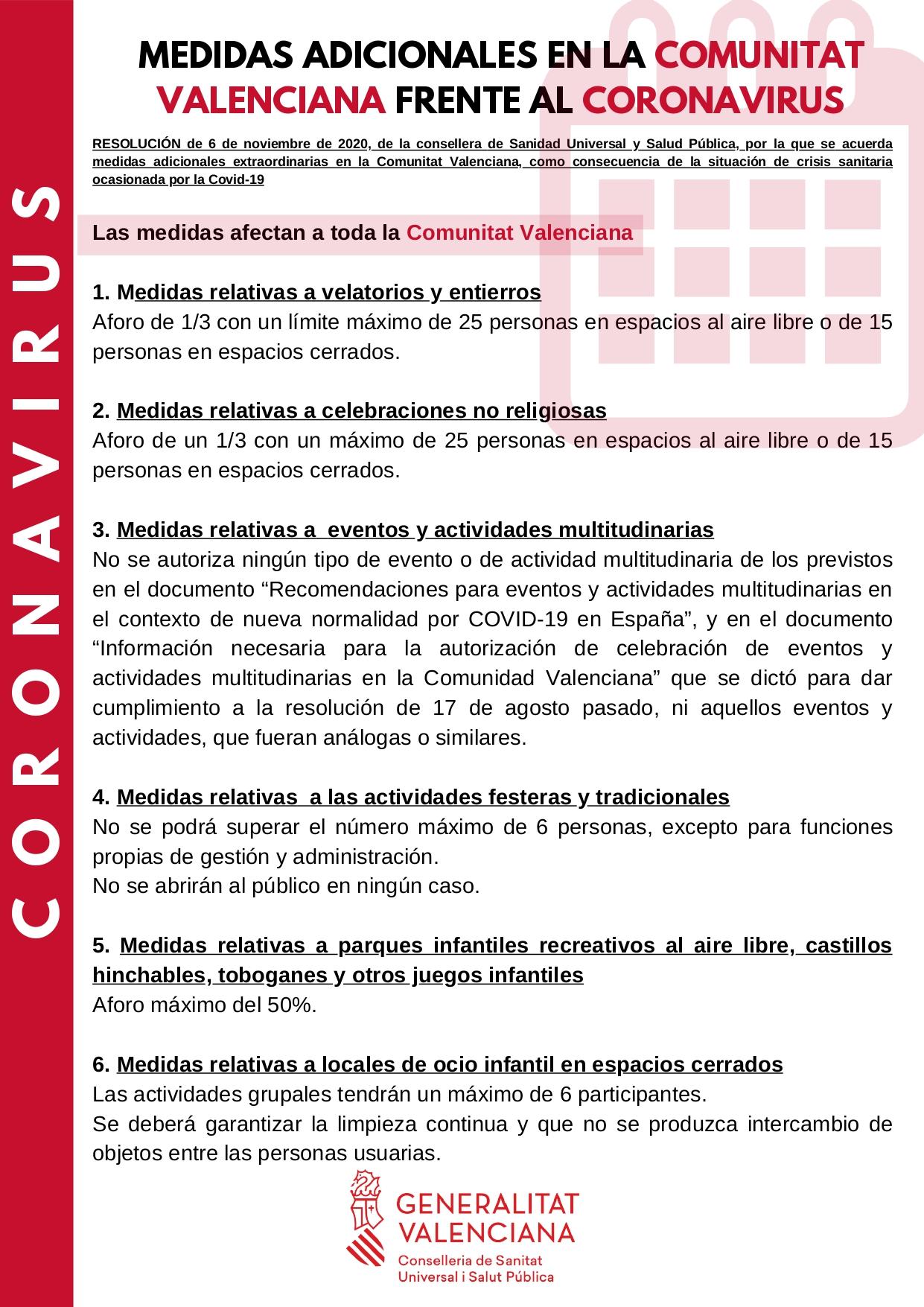 La Generalitat Valenciana aprueba nuevas medidas para frenar el coronavirus
