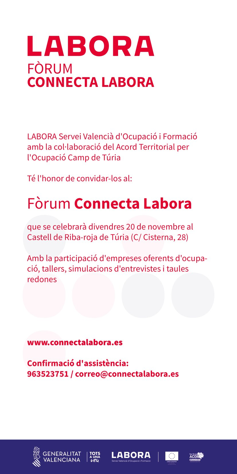 LABORA celebra su próximo foro sobre empleo el 20 de noviembre en Riba-roja de Túria