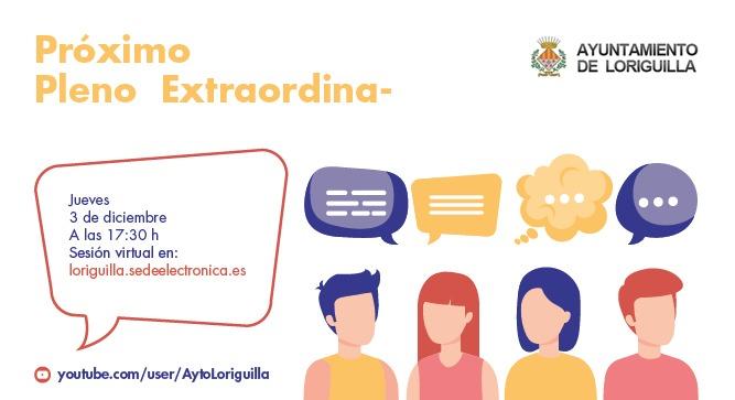 El Ayuntamiento de Loriguilla convoca un pleno extraordinario para el jueves 3 a las 17:30 horas