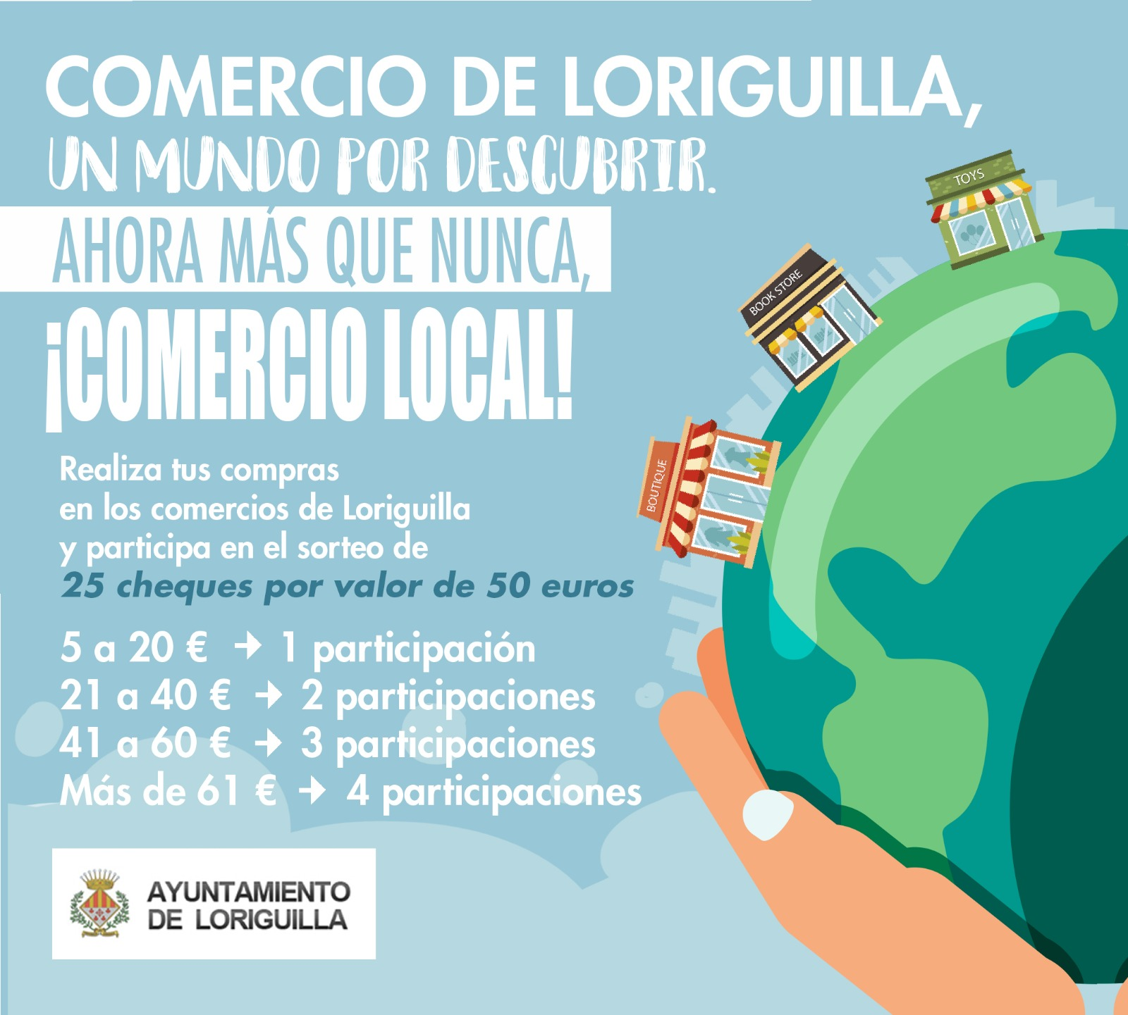 Loriguilla pone en marcha una campaña de apoyo al comercio local en la que se repartirán 25 cheques regalos para gastar en el municipio