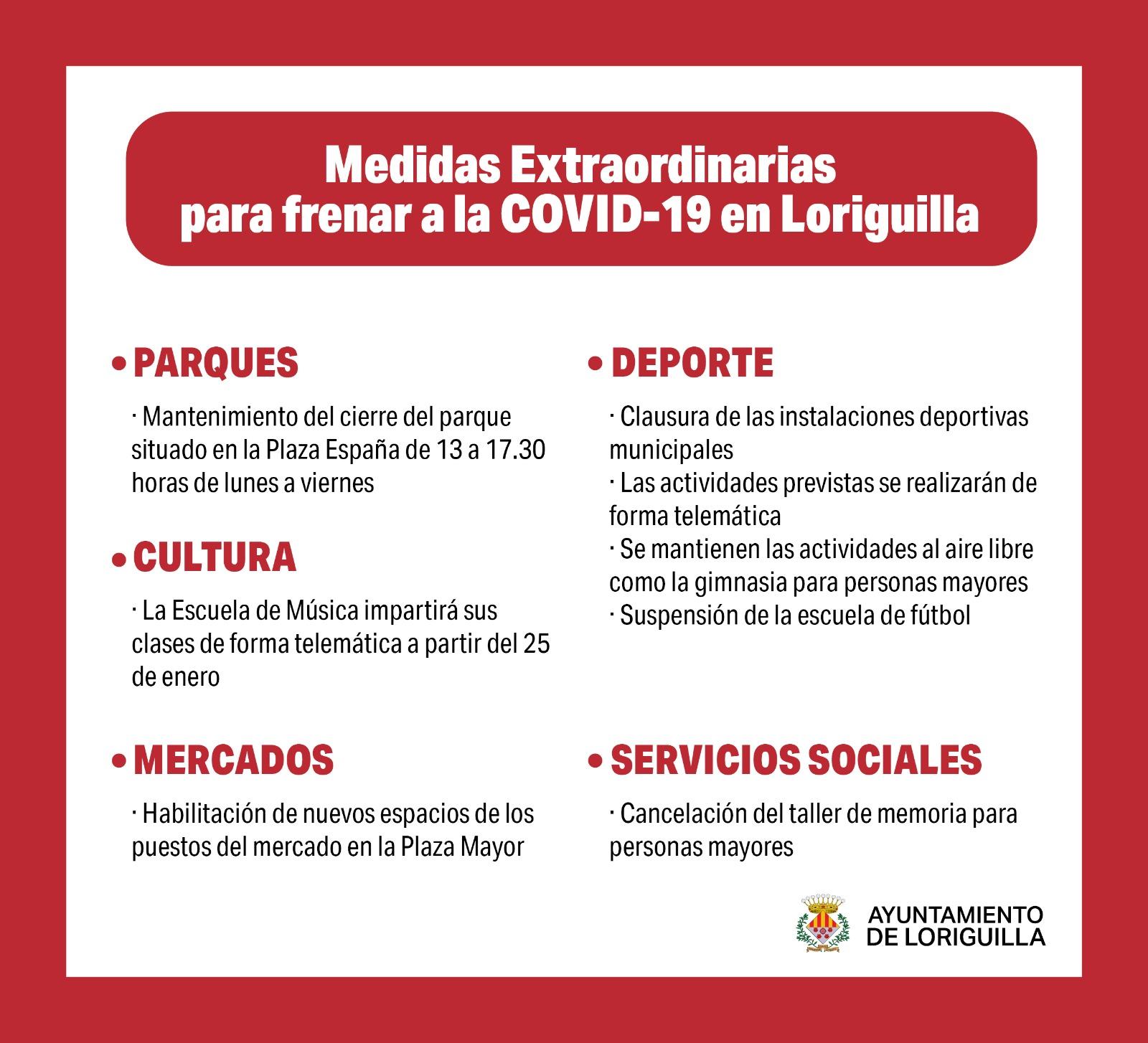 El Ayuntamiento de Loriguilla implementa nuevas medidas ante el empeoramiento de la situación epidemiológica
