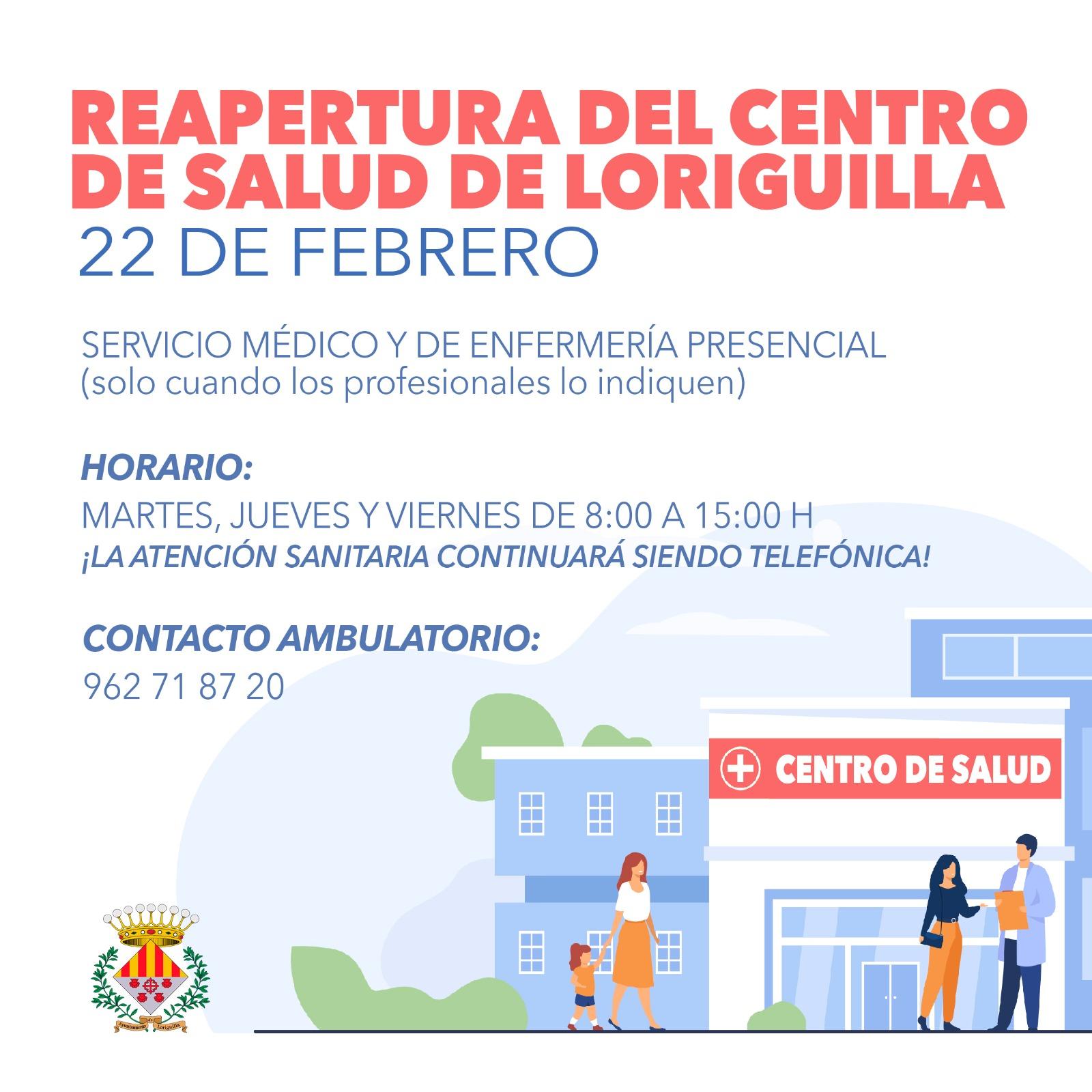 El Centro de Salud de Loriguilla volverá abrir con atención presencial el 22 de febrero