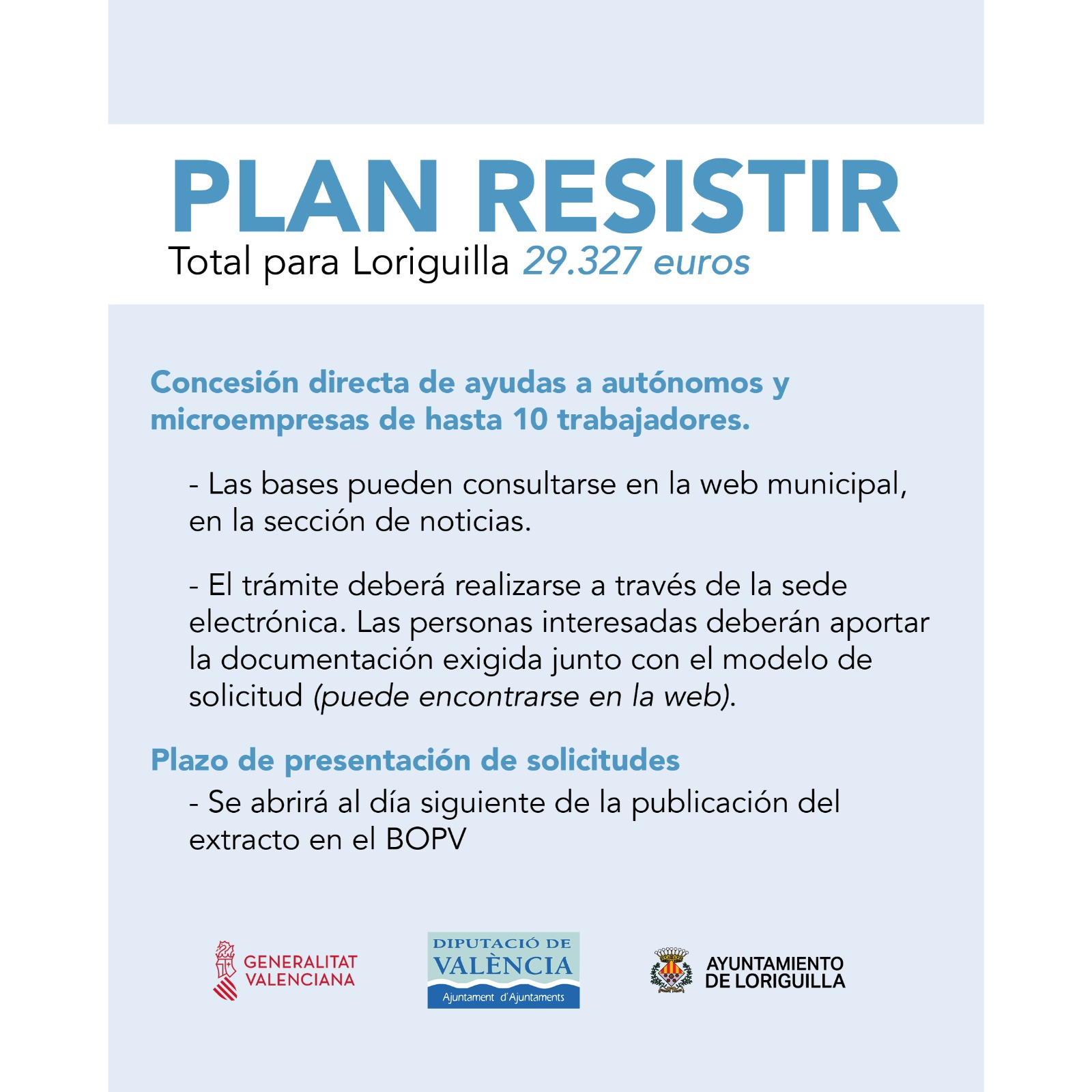 Loriguilla aprueba las bases de concesión directa de ayudas a autónomos y microempresas de hasta 10 trabajadores-Plan Paréntesis incluido en el Plan Resistir de la Generalitat (pendiente abrir plazo solicitud)