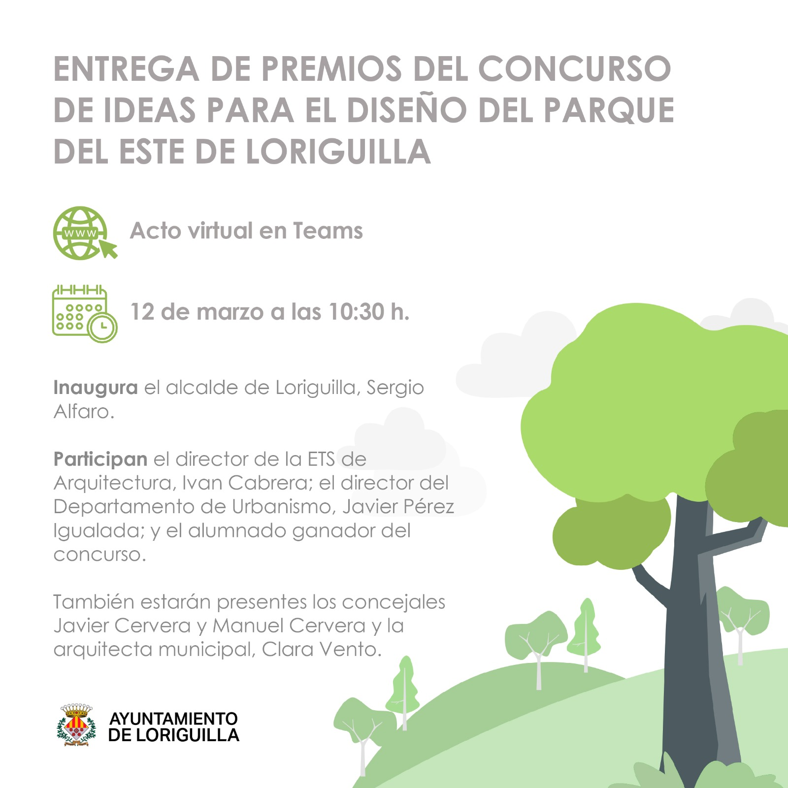 El Ayuntamiento de Loriguilla entregará los premios del Concurso de Ideas del Parque del Este de su polígono industrial a través de un acto virtual