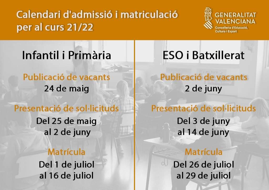 Calendario de admisión y matriculación para el curso 2021-2022 del segundo ciclo de Infantil, Primaria, ESO y Bachillerato