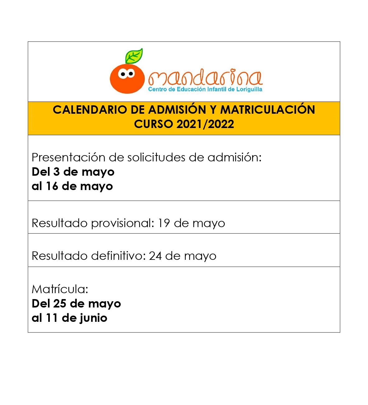 Abierto el plazo para presentar la solicitud de admisión en la Escuela Infantil Mandarina