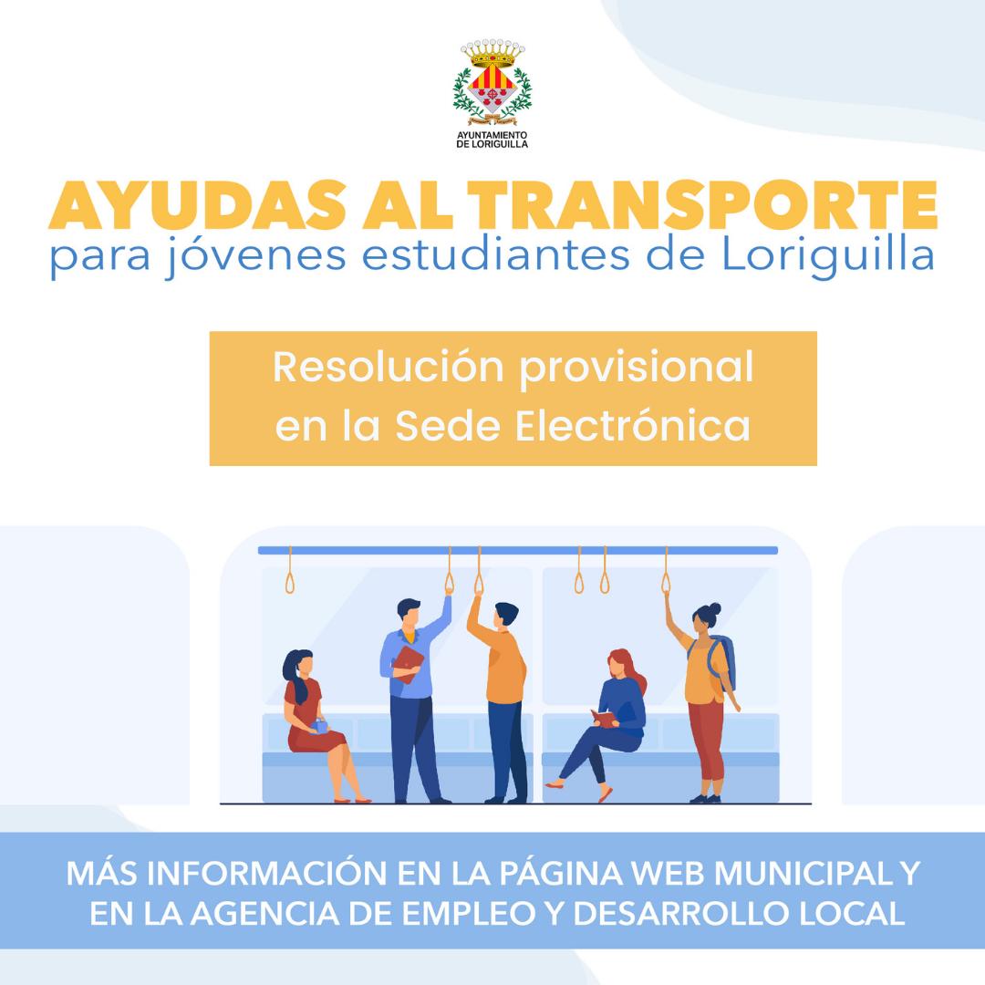 Anuncio Resolución provisional convocatoria ayudas transporte público para jóvenes 2021