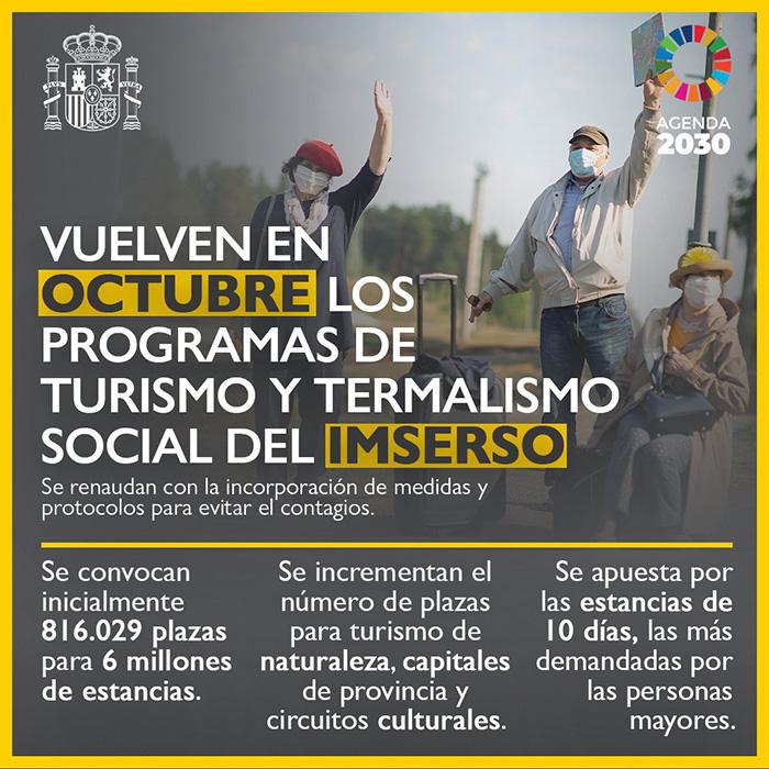 Abierto el plazo para solicitar una de las plazas de turismo social IMSERSO 2021-2022