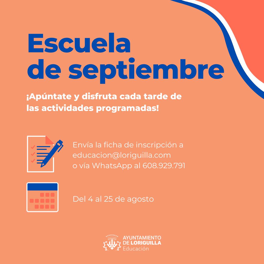 """Abierto el plazo de inscripción para la """"Escuela"""" y las """"Tardes de Septiembre"""""""