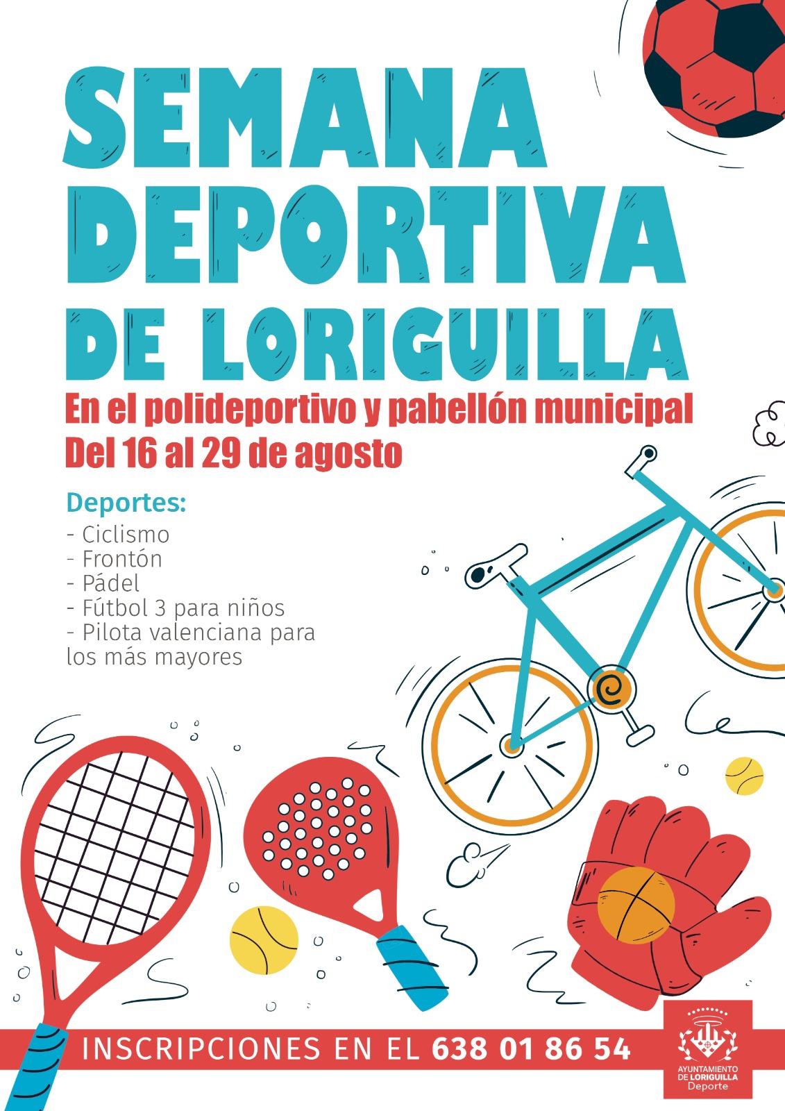 Loriguilla celebrará su tradicional Semana Deportiva del 16 al 29 de agosto